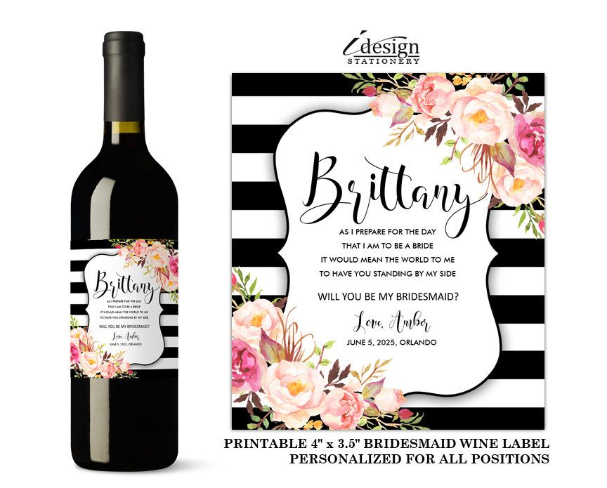 Will You Be My Bridesmaid Wine Label Diy Printable