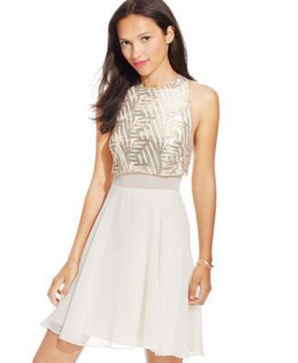 Speechless Juniors&39 Sequin Illusion Waist Popover Dress ...