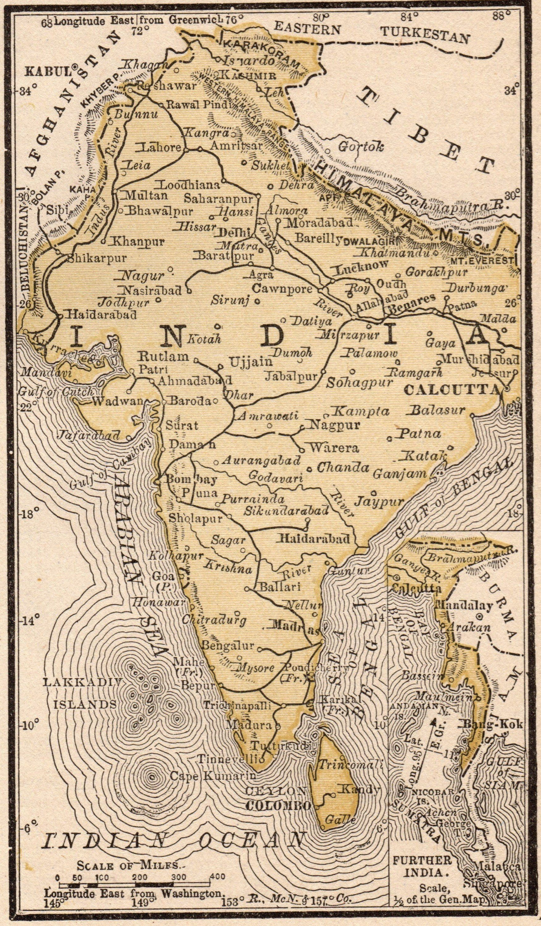 1888 Miniature INDIA Map Vintage Map of India Gallery Wall Art ...