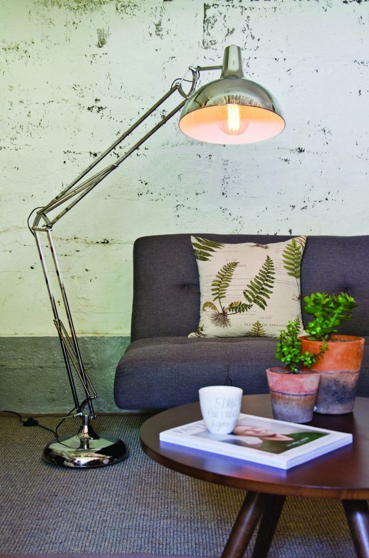 This tall design of floor standing anglepoise lamp with chrome ...