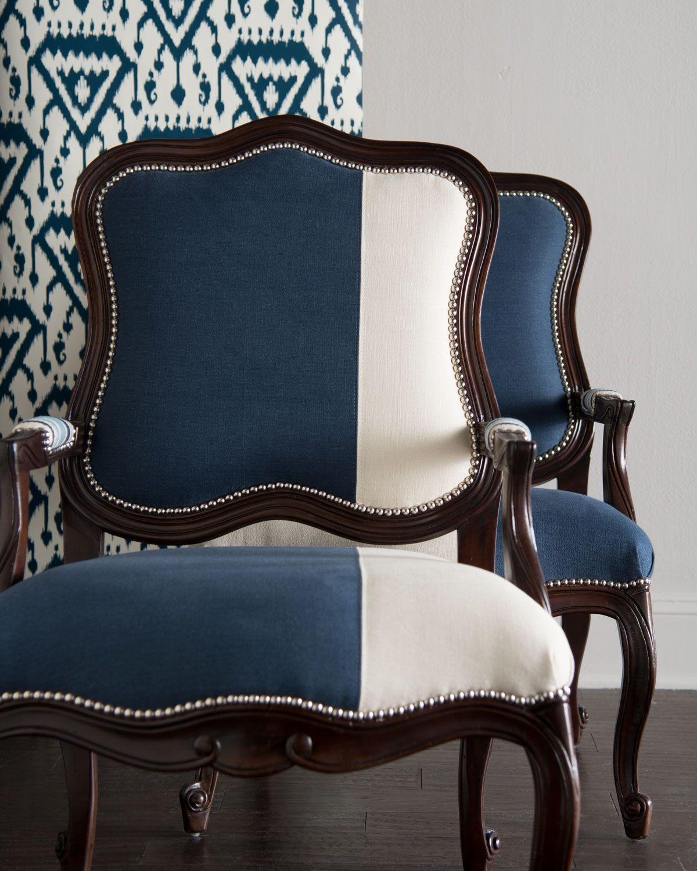 Massoud Madison & Michael Colorblock Bergere Chairs