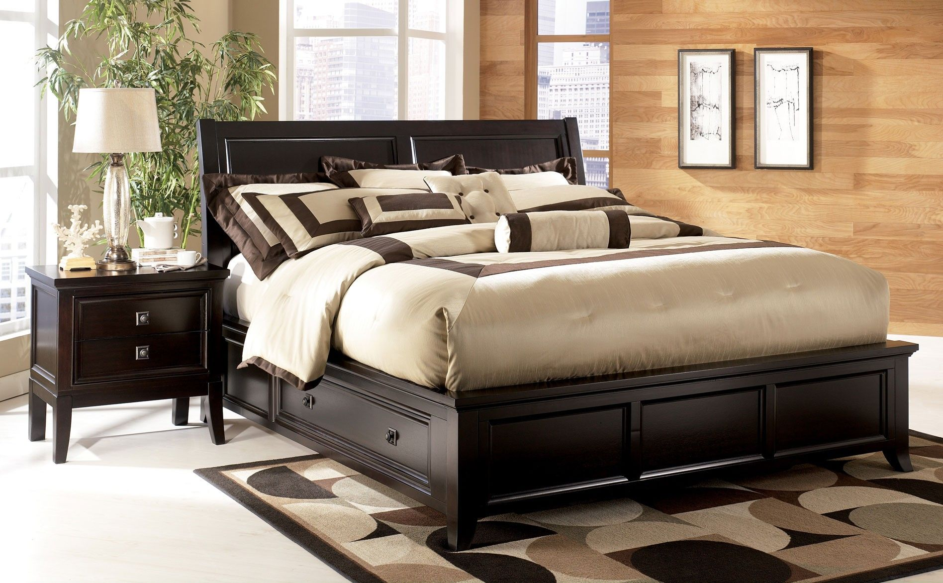 Ashley Martini King Sleigh Bed With Storage | Clearance Outlet | Raleigh  Furniture | Home Comfort