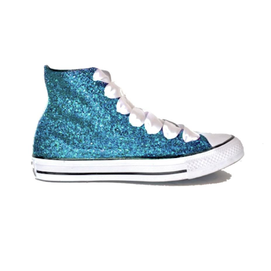 0b68abace440 Womens Sparkly Glitter Converse All Stars Teal Blue Green High Top wedding  bride shoes