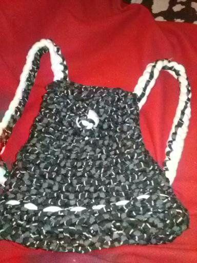 Croché 2 mochila negro de y y blanco TOTORA Trapillo trapillo pnfq6ZwS