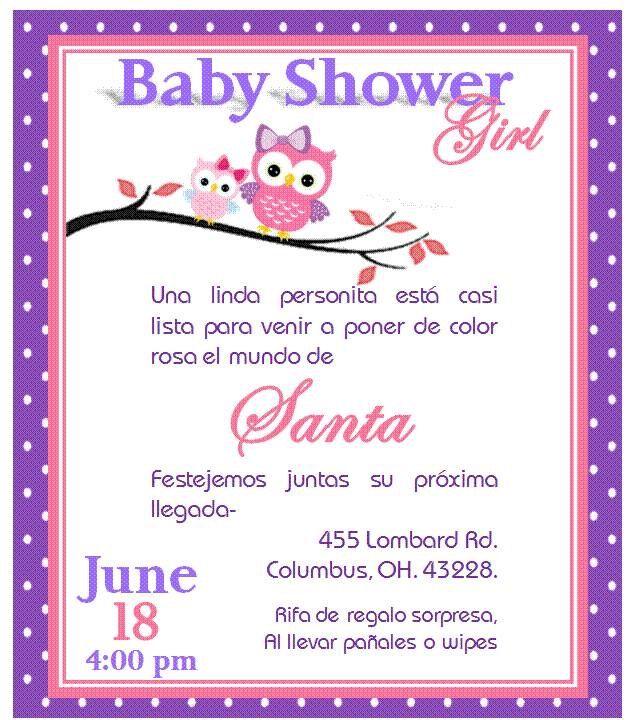 Invitacion De Búho Para Baby Shower Niña Tarjetas Baby