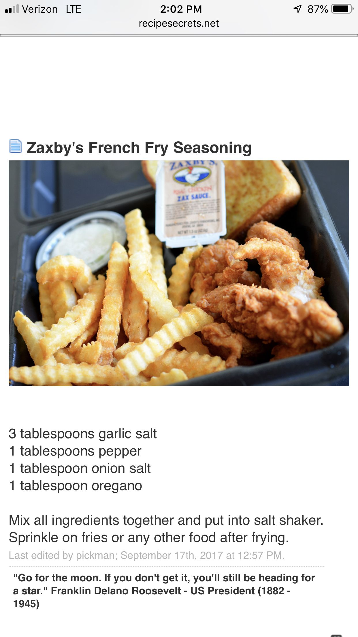 Zaxby's Food, Cooking recipes, French fry seasoning