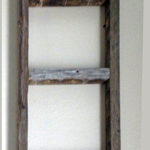 Decorative Ladder Reclaimed Old Wooden Ladder 6 Foot Rustic Barn Wood With Images Old Wooden Ladders Wooden Ladder Ladder Decor