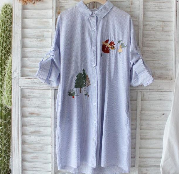 Tree squirrel embroidered stripes Single-breasted long sleeve loose forest dress