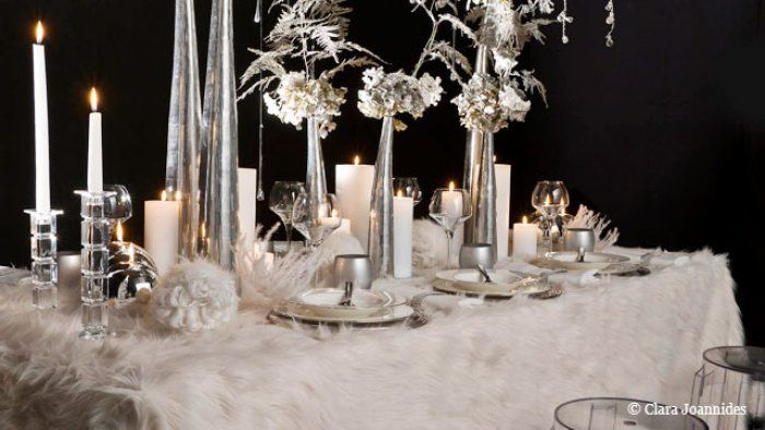 dcoration de table dcoration de table de nol toute blanche - Decoration De Noel Blanche