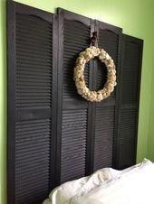 Photo of $ 2 for alle 4 vinylskodder; montert på veggen for hodegavl #Headboard #mou …