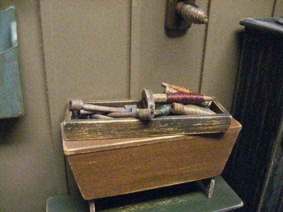 Dollhouse Miniature Spools Thread Bobbins by MiniatureCabinDecor