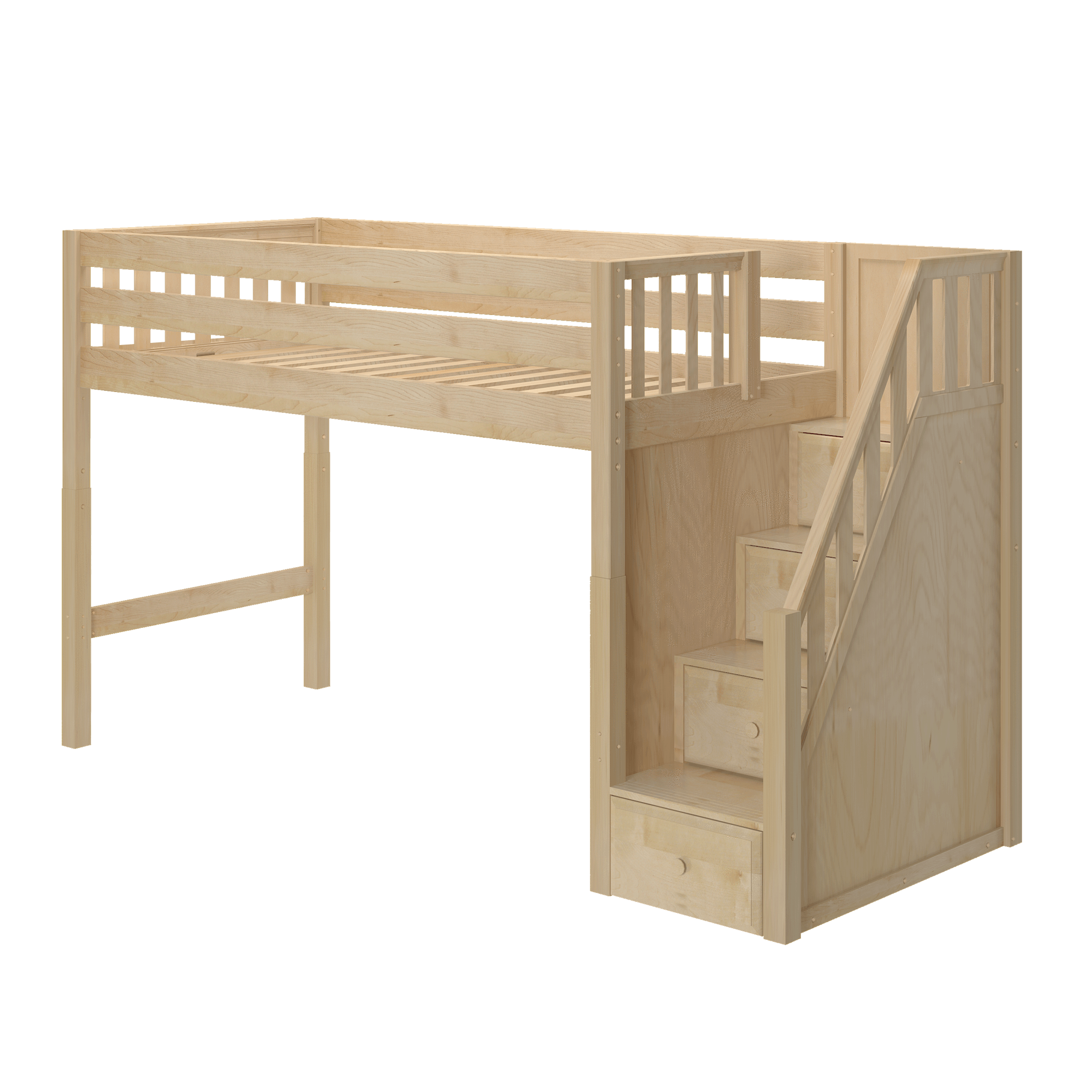 Twin XL Mid Loft Bed with Stairs in 2020 Loft bed plans