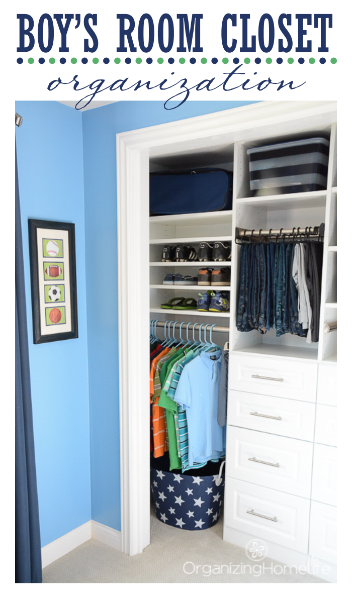 Tween Boy's Room Organized Closet Reveal - Organizing Homelife