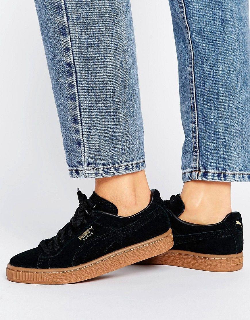a63ce2ea7ec5c8 PUMA BLACK SUEDE CLASSIC SNEAKERS WITH GUM SOLE - BLACK.  puma  shoes