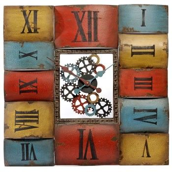 Funky Clock.... Hmmm - this would be cool made with old book spines... For someone who likes books.