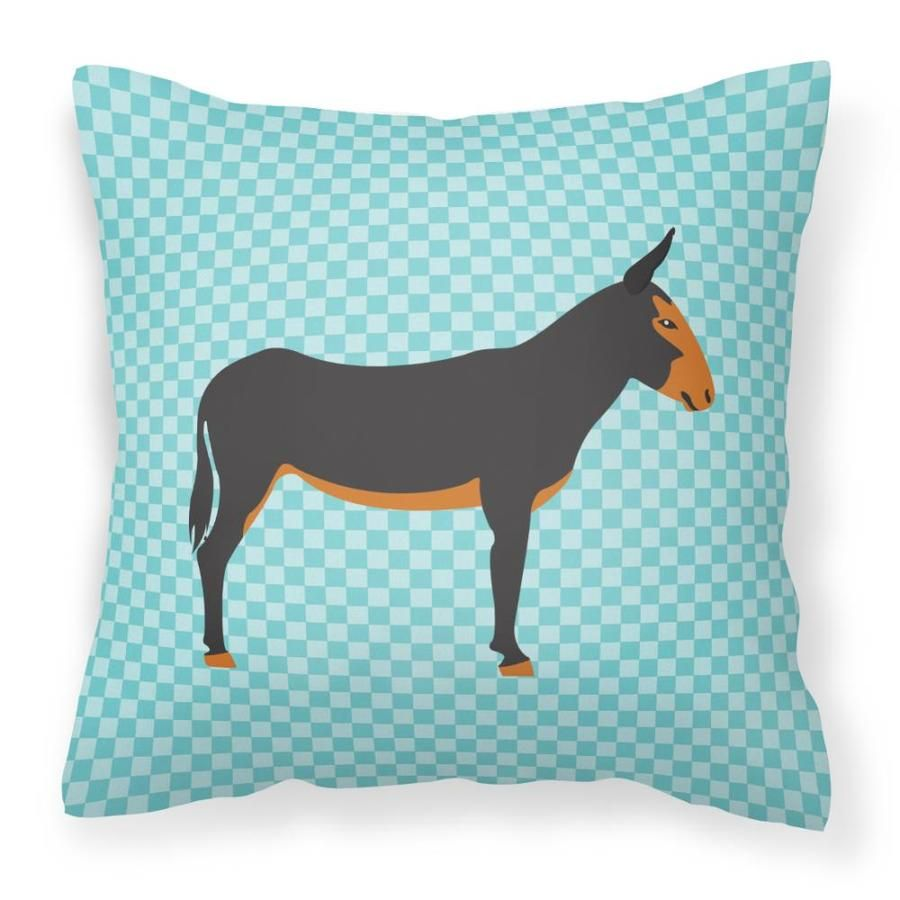 Caroline's Treasures Catalan Donkey Blue Check Fabric Decorative Pillow Bb8029pw1414