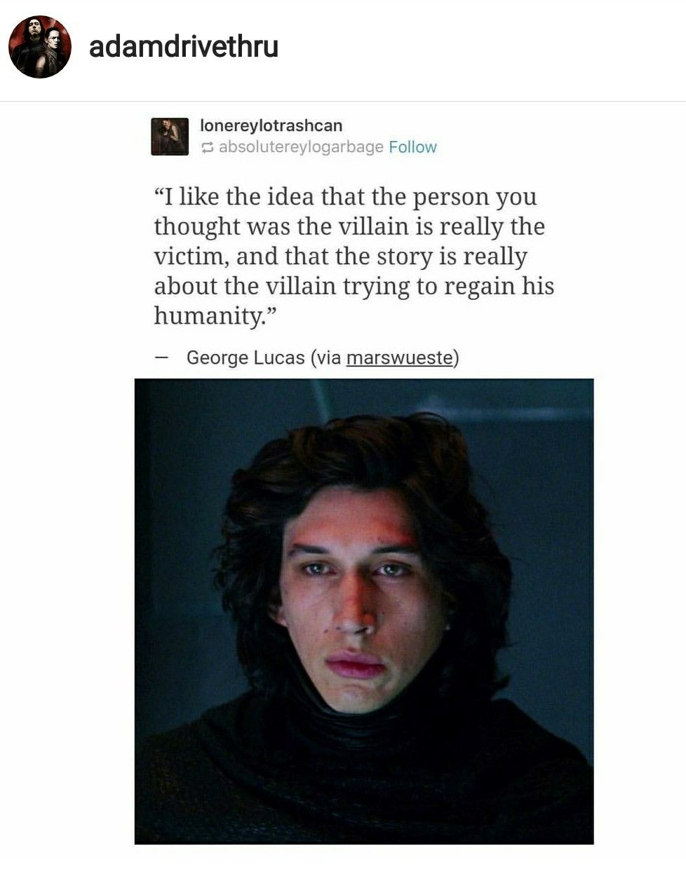 I've said it before, I'll say it again: Kylo Ren is the Winter Soldier of the Galaxy far, far away.
