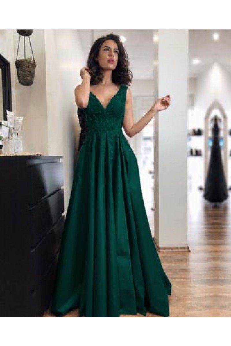 Elegant long satin aline vneck prom dress lace appliques