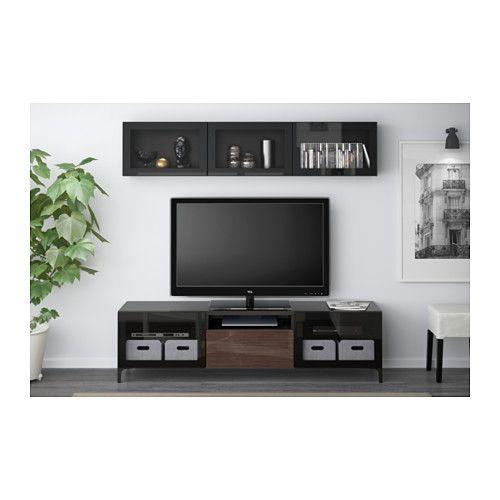 BESTÅ TV storage combination/glass doors - black-brown/Selsviken high gloss/brown clear glass, drawer runner, soft-closing - IKEA