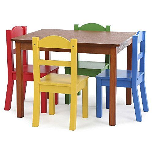 Kids Wood Table Set With 4 Chairs In