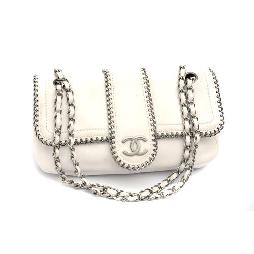 Chanel Madison Medium Flap White Leather Chain Shoulder Bag