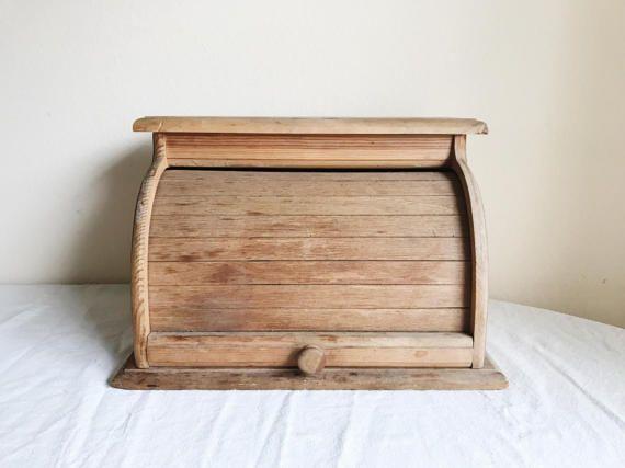 Vintage Bread Box Antique Wooden Bread Box Farmhouse Bread Box