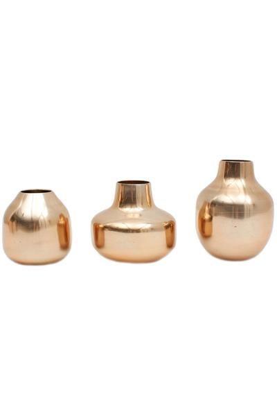 Metal Bud Vase Trio By Bohemia In Metallic Brass Or Copper Handmade