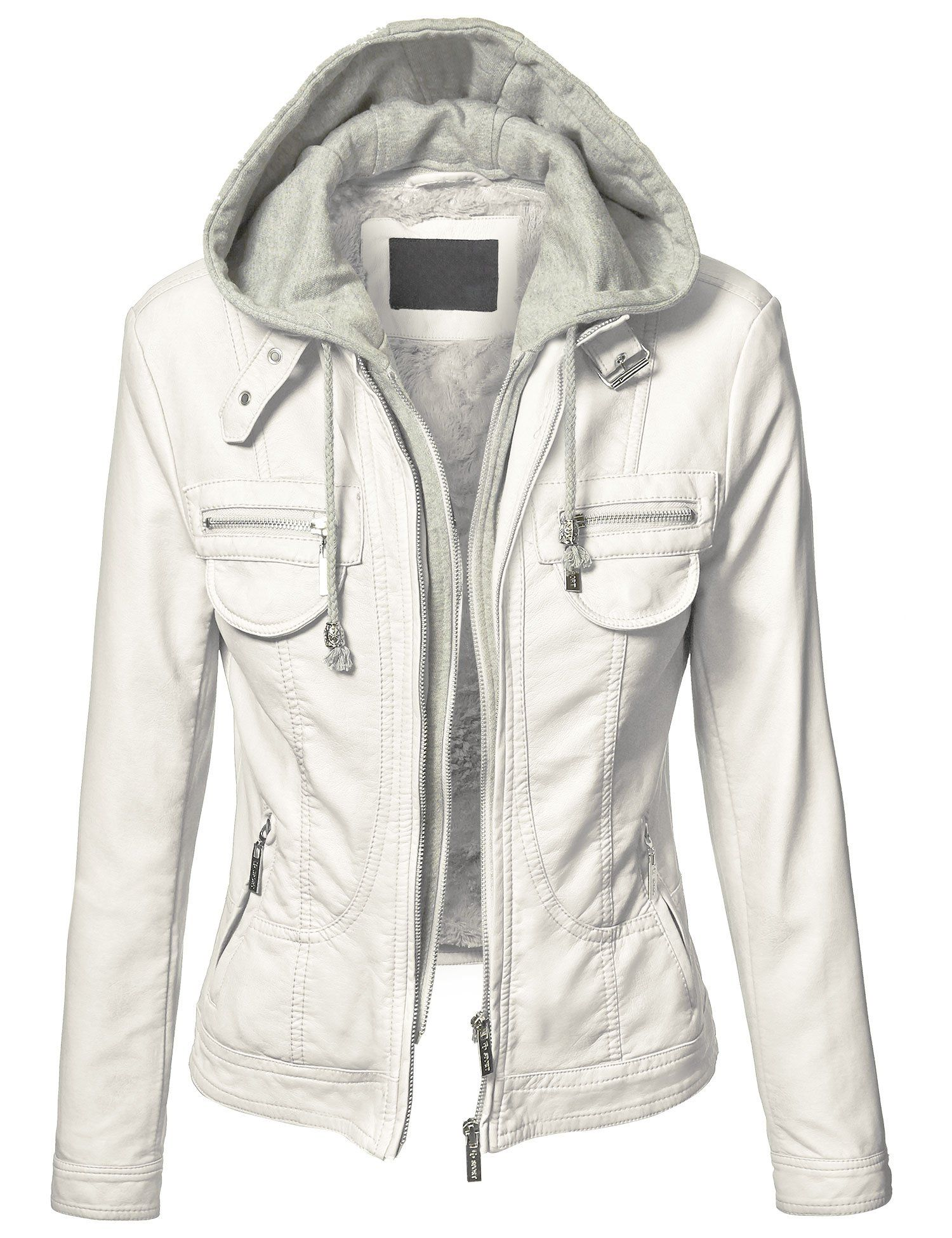 The Casual Grey Womens Faux Leather Jacket with Hood