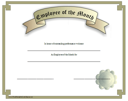 This silver grey certificate recognizes an employee of the for Employee of the month certificate template free download