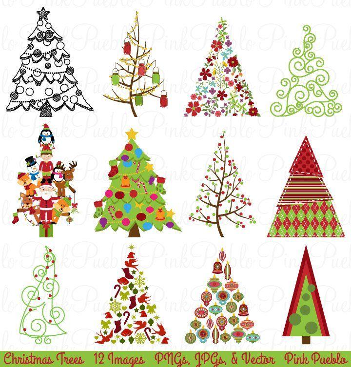Christmas Tree Clipart Clip Art Christmas Holiday Decor | Etsy - Christmas Tree Clipart Clip Art, Christmas Holiday Decor Clipart
