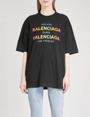 14e8fbcf11f4 BALENCIAGA Oversized cotton-jersey T-shirt | Print | Balenciaga ...