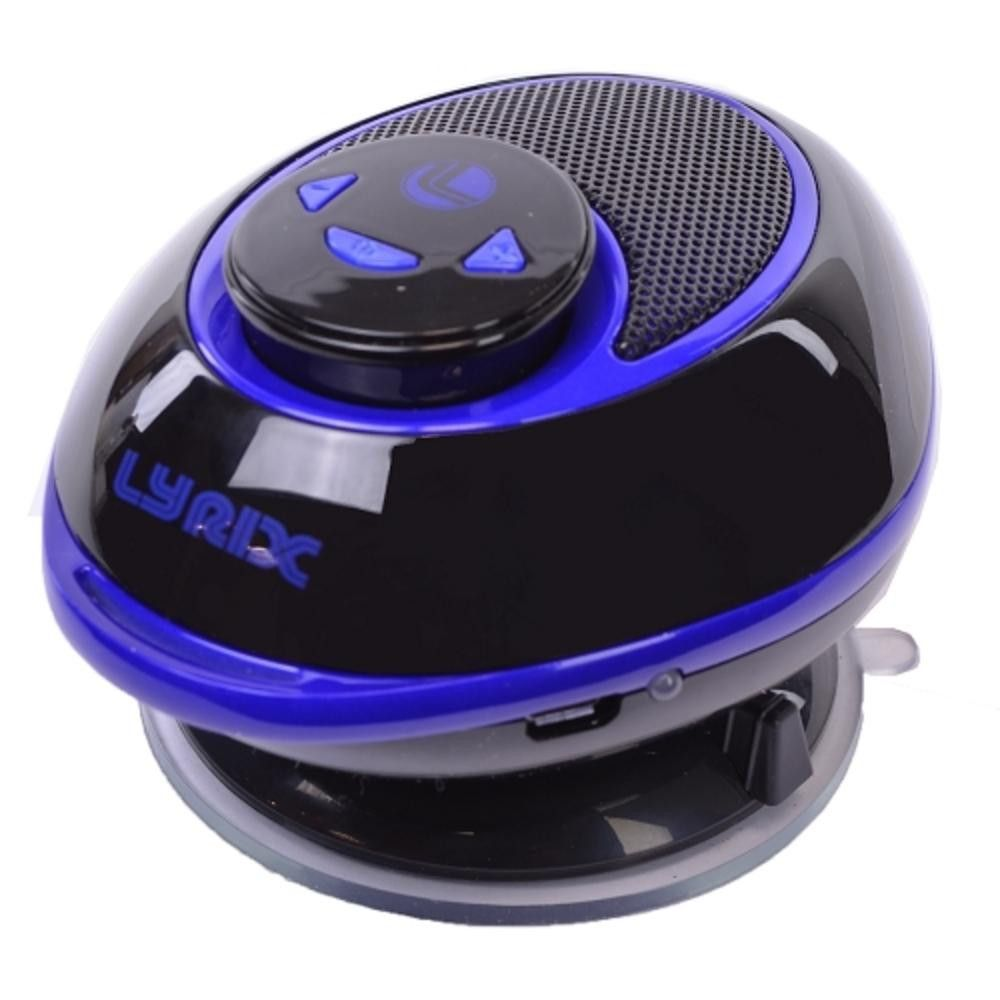 Lyrix Duo 2-in-1 Bluetooth Speaker w-Removable Receiver & Suction Cup Mount (Blue-Black)