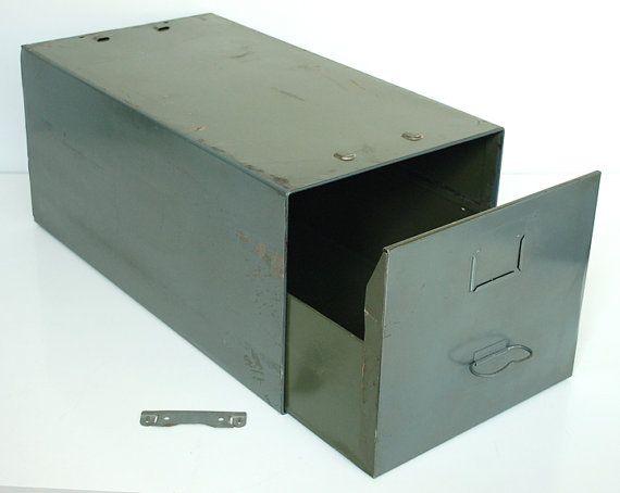 Vintage Metal Filing Cabinet By Diebold Inc., Filing Drawer, File Box,  Stacking