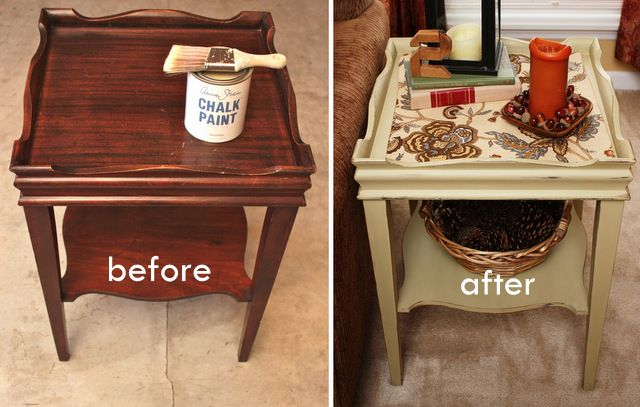 Before and After of Annie Sloan Side Table Makeover Lack