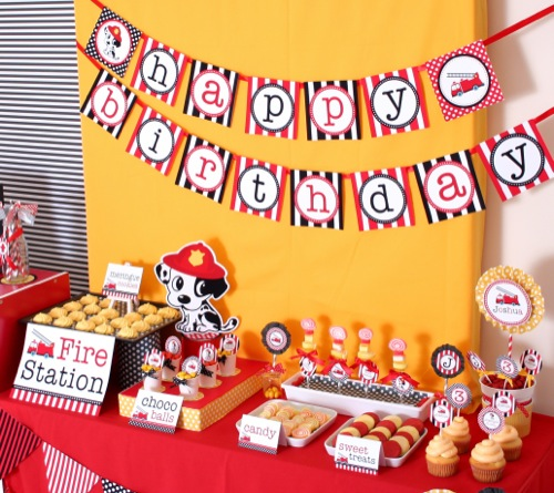 The Vens' Paperie: firefighter & 101 dalmations party
