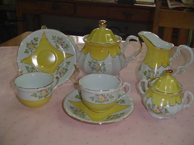Conjunto de chá, pintado a mão