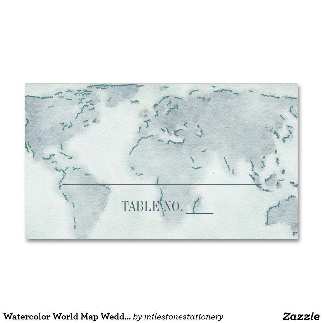 Watercolor World Map Wedding Placecards Business Card | Map ...