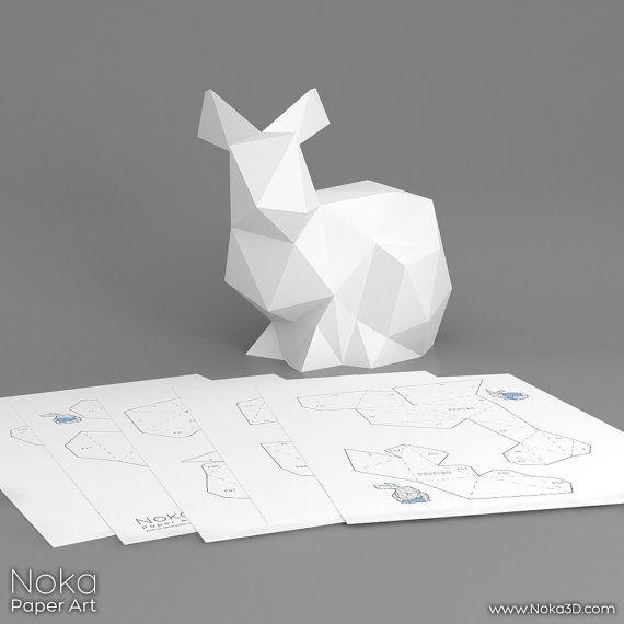 bunny 3d papercraft model downloadable diy by nokapaperart papercraft pinterest