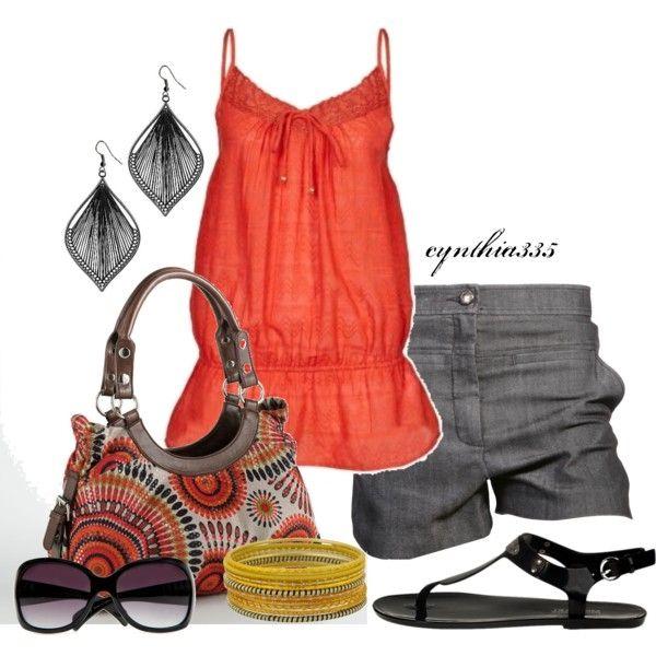Summer Outfit (Diane Von Furstenberg Grey `Notrina` Stretch Denim Shorts $285)