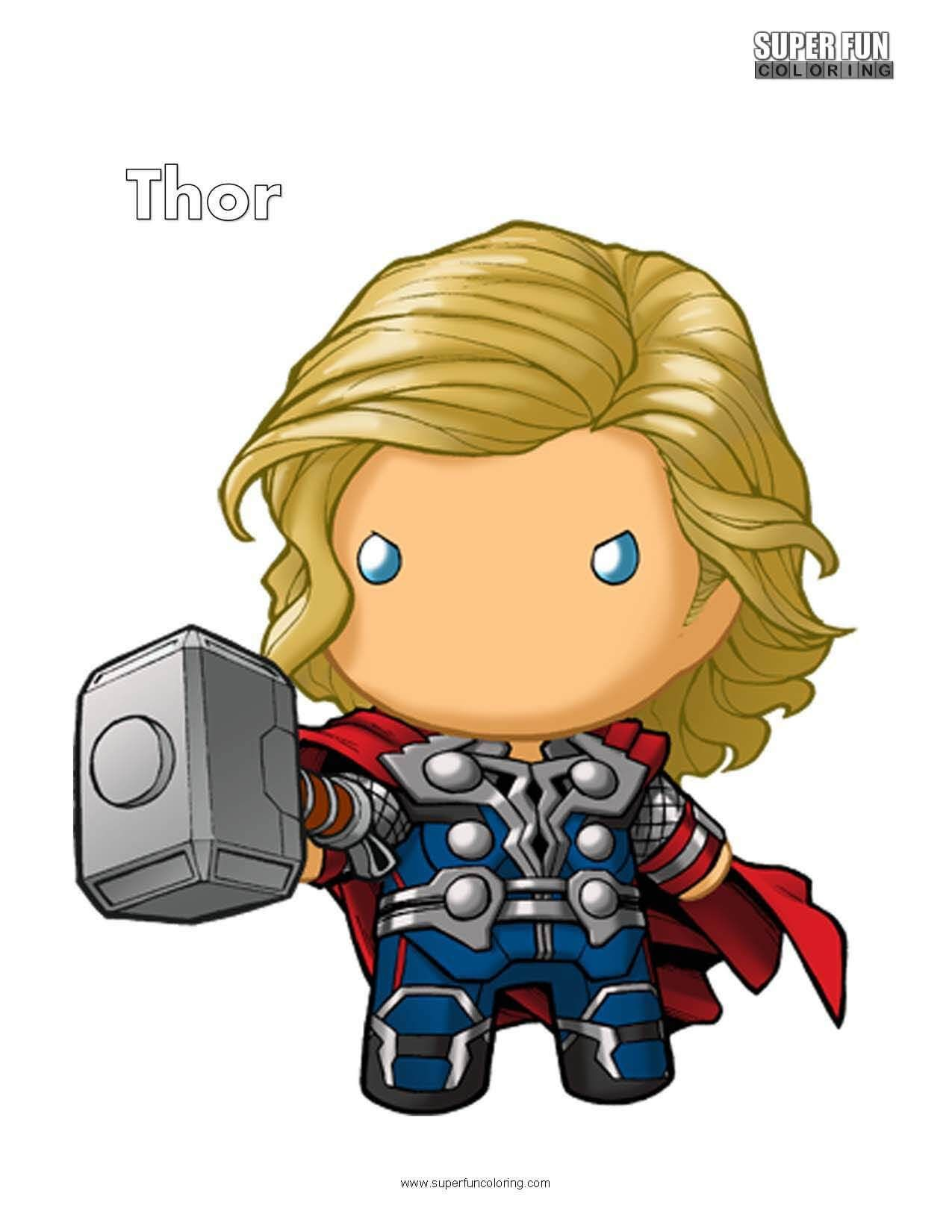 Cute Thor Free Superhero Coloring Page | Super Fun Coloring Pages ...