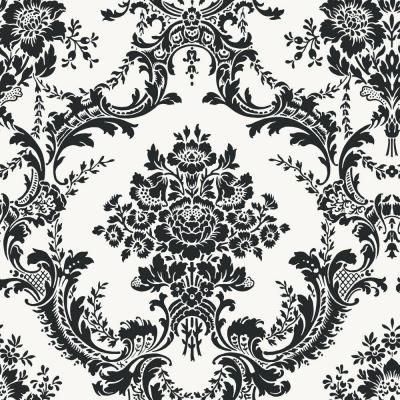 The Wallpaper Company 56 Sq Ft Black And White Mid Scale Damask