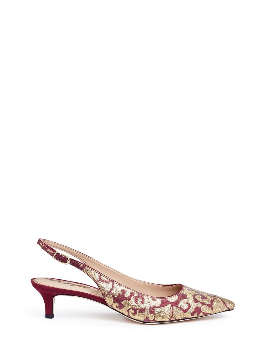 03ba7ec5f278 SAM EDELMAN  Ludlow  metallic baroque jacquard slingback pumps.  samedelman   shoes  pumps