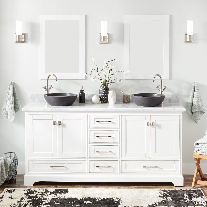 72 Quen Double Vessel Sink Vanity  White  Double
