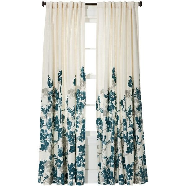 Threshold Climbing Vine Curtain Panel Teal Blue 24