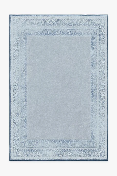 maral border blue rug in 2020 blue rug washable area rugs rug stain pinterest