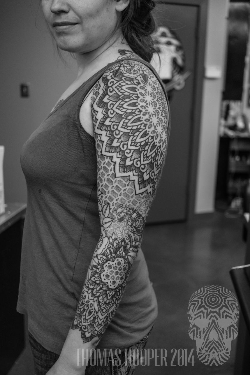 fc48c0693 Honey Comb macro bee sleeve mandala dotwork tattoo | Tattoos ...