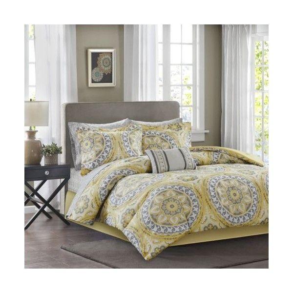 King Size Comforter Set Yellow Gray Medallion Pattern 9 Piece