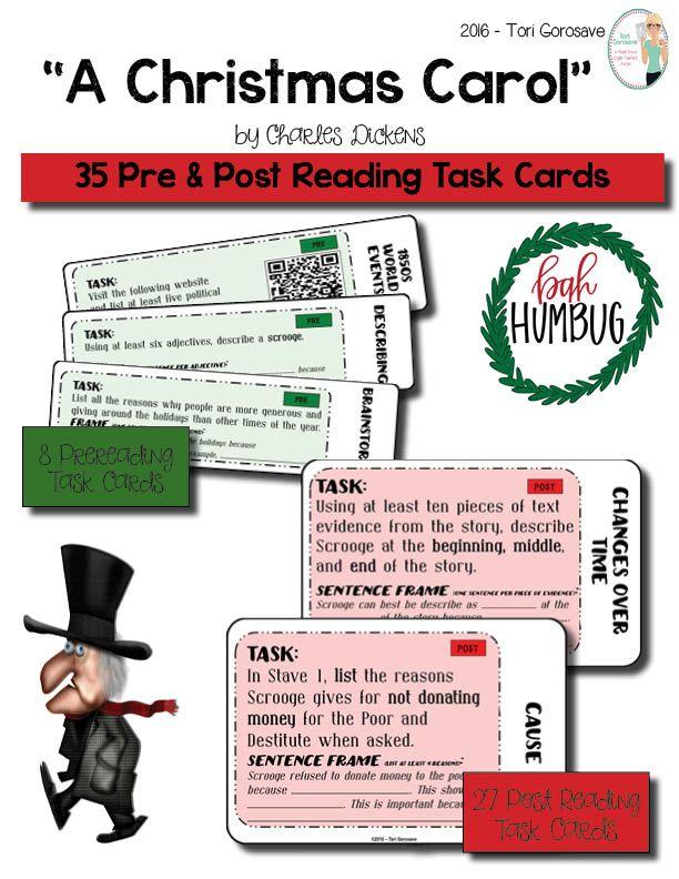 """Task Cards - """"A Christmas Carol""""   Christmas carol book, A christmas carol story, Christmas carol"""