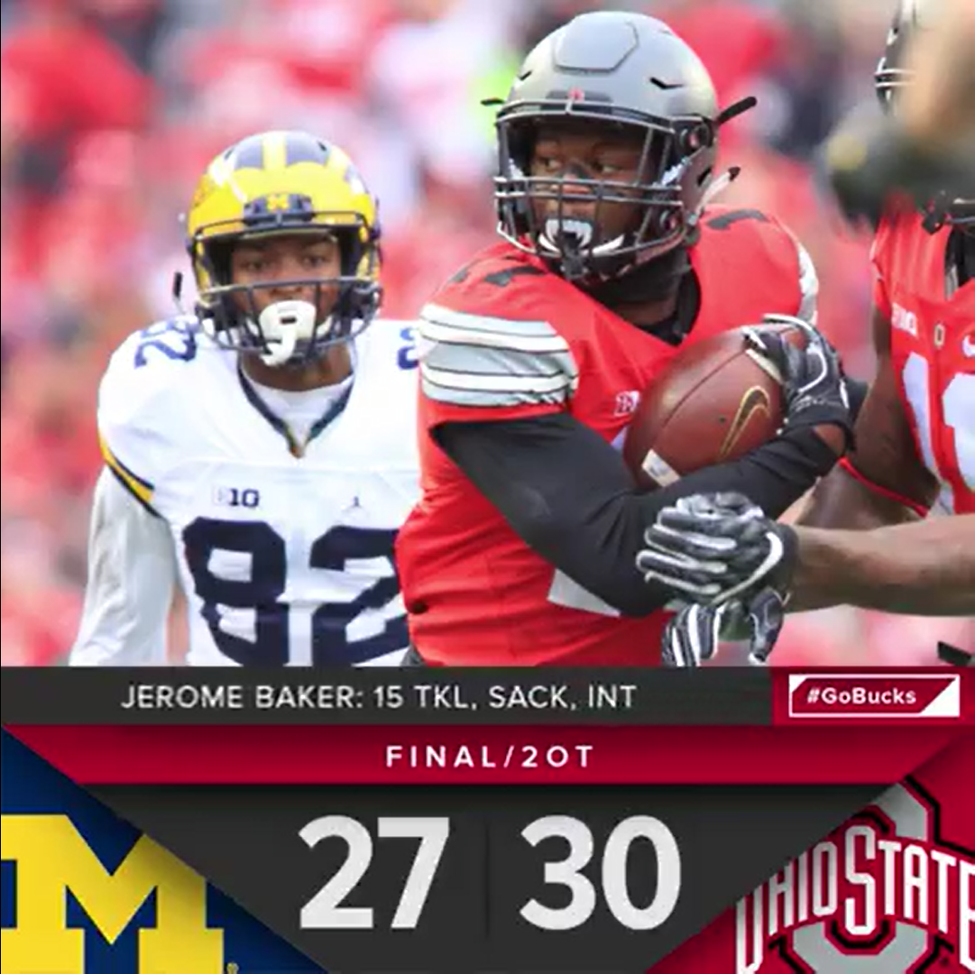 Ohio State Score 11 26 2016 Game 12 The Game Final Score And Jerome Baker Stats