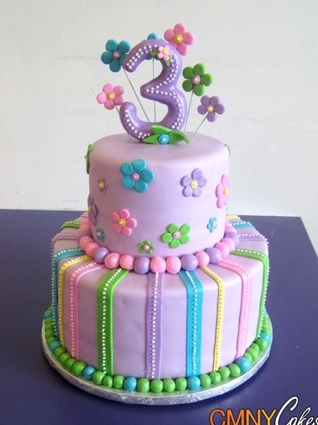 Lavender with Flowers 3rd Birthday Cake Cake Ideas Pinterest